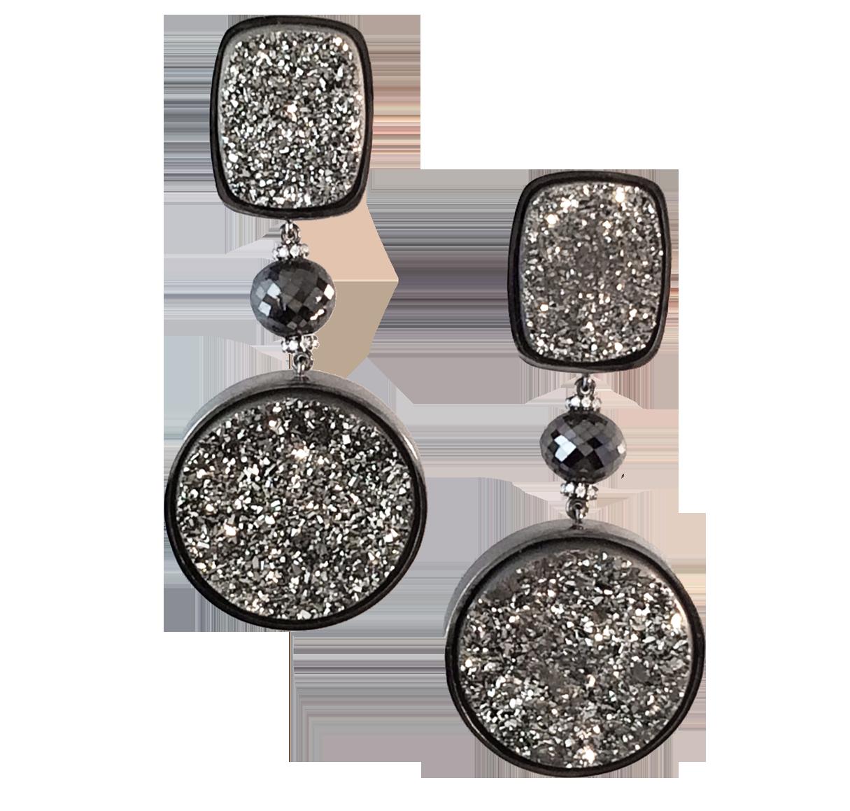 Drusy Quartz and Diamond Earrings-1