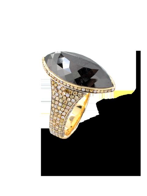Marquise Black Diamond Ring-1