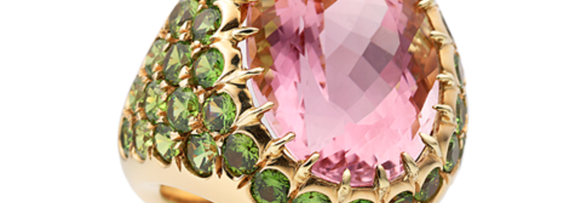 Pink Tourmaline & Demantoid Garnet Ring