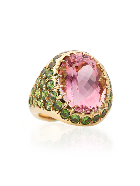Pink Tourmaline & Demantoid Garnet Ring-1