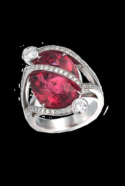 Rubelite Ring with Diamonds