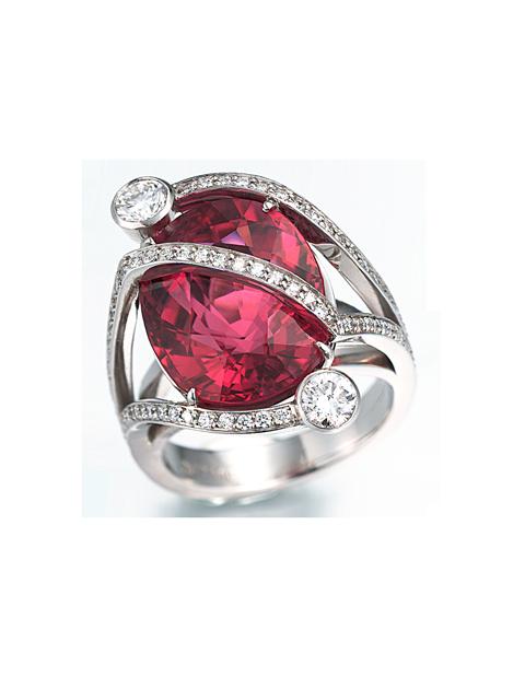 Rubelite Ring with Diamonds-1