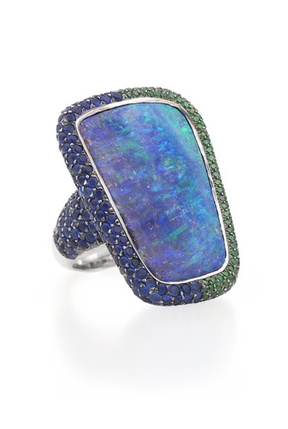 Boulder Opal, Hauynite & Demantoid Garnet Ring