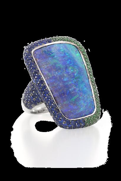 Boulder Opal, Hauynite & Demantoid Ring