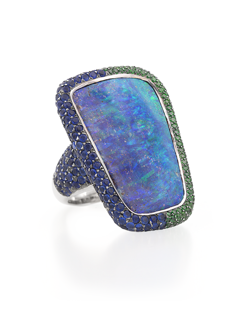 Boulder Opal, Hauynite & Demantoid Garnet Ring-1