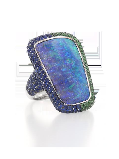 Boulder Opal, Hauynite & Demantoid Ring-1