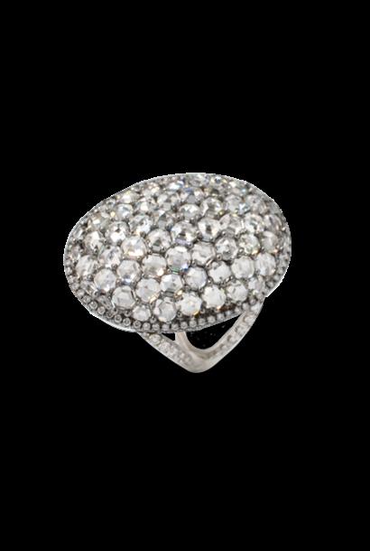 Oval-Shaped Hexagon-Cut Diamond Ring