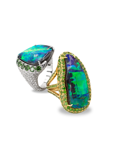 Boulder Opal and Demantoid Garnet Ring-2
