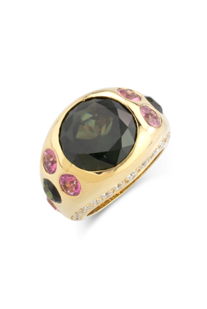 Green Sapphire, Pink Tourmaline & Diamond Gypsy Ring