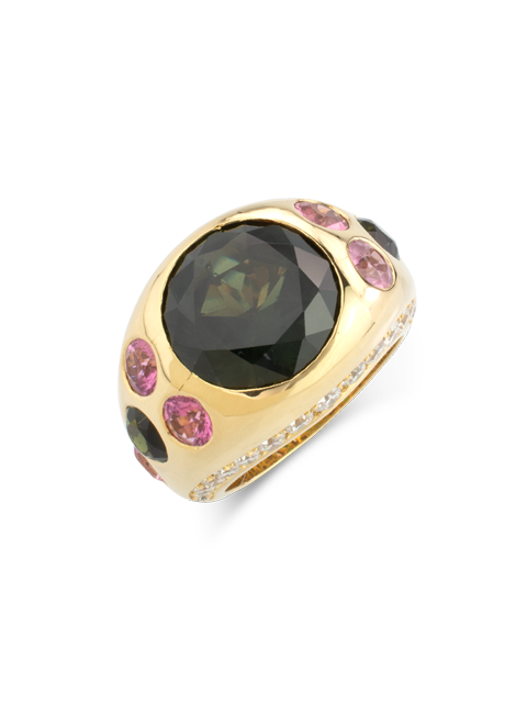 Green Sapphire, Pink Tourmaline & Diamond Gypsy Ring-1