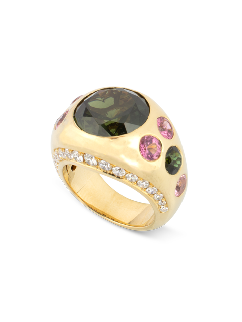 Green Sapphire, Pink Tourmaline & Diamond Gypsy Ring-2
