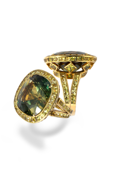 Greenish Yellow-Blue Sapphire Ring