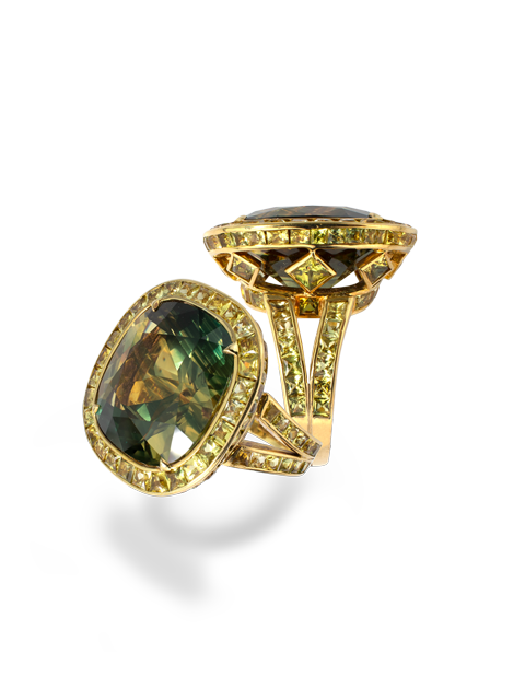 Greenish Yellow-Blue Sapphire Ring-1
