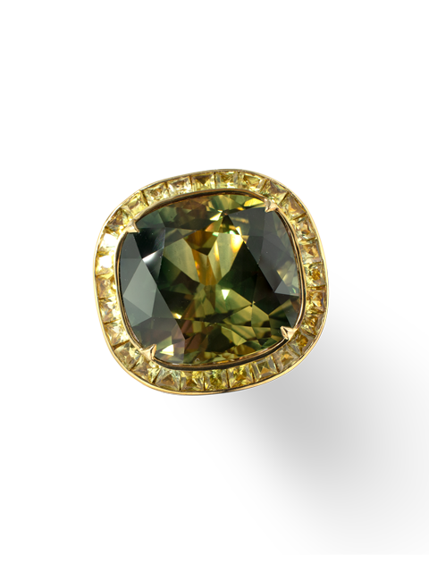 Greenish Yellow-Blue Sapphire Ring-2