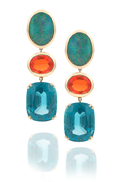 Black Opal, Fire Opal & Apatite Earrings