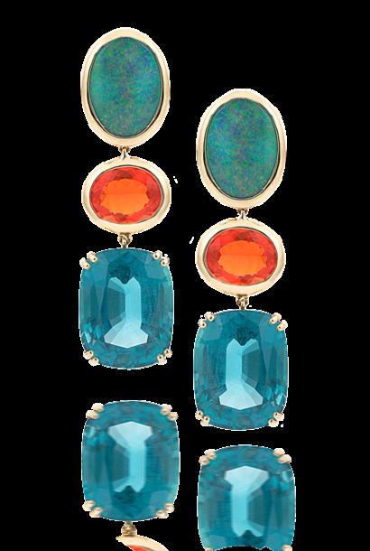 Black Opal, Fire Opal & Apatite Earrings