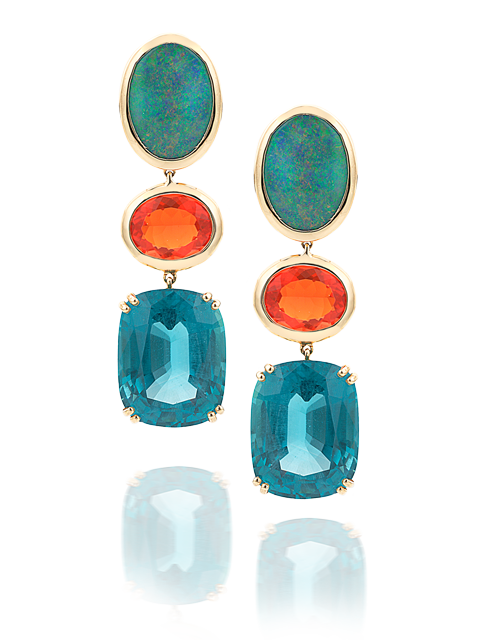 Black Opal, Fire Opal & Apatite Earrings-1