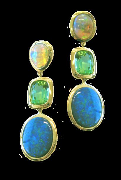 Opal & Tourmaline Earrings