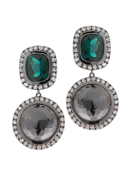 Black Diamond & Green Tourmaline Earrings