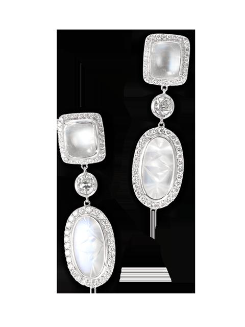 Moonstone & Diamond Earrings-3