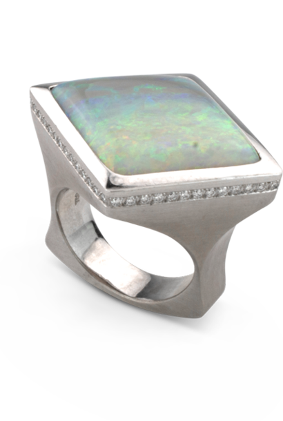 Mintabie Opal & Diamond Ring