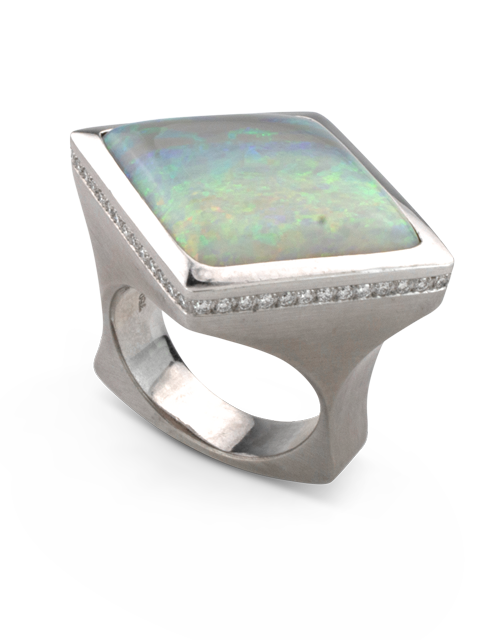 Mintabie Opal & Diamond Ring-1