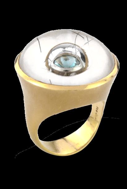Quartz with Tourmaline Needles & Aquamarine Ring