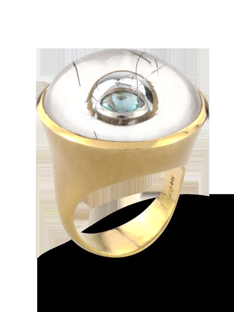 Quartz with Tourmaline Needles & Aquamarine Ring-1