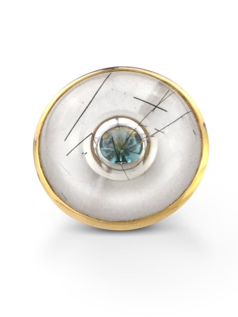Quartz with Tourmaline Needles & Aquamarine Ring-2