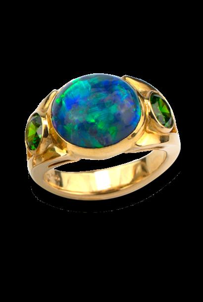 Black Opal & Russian Demantoid Ring