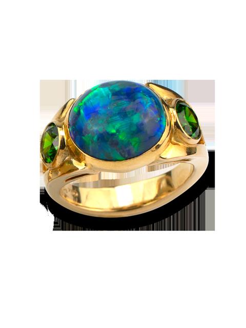 Black Opal & Russian Demantoid Garnet Ring-1