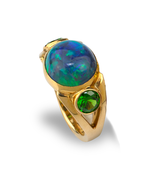 Black Opal & Russian Demantoid Garnet Ring-2