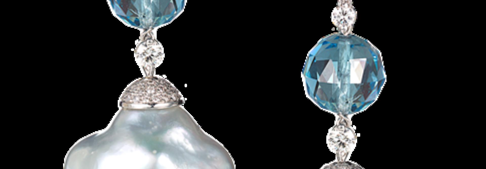 Baroque Pearl & Aquamarine Earrings