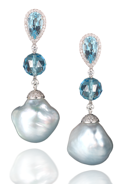 Baroque Pearl & Aquamarine Earrings