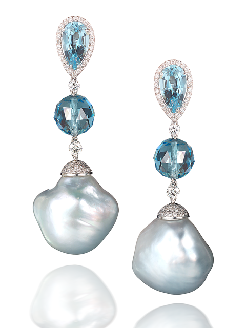 Baroque Pearl & Aquamarine Earrings-1