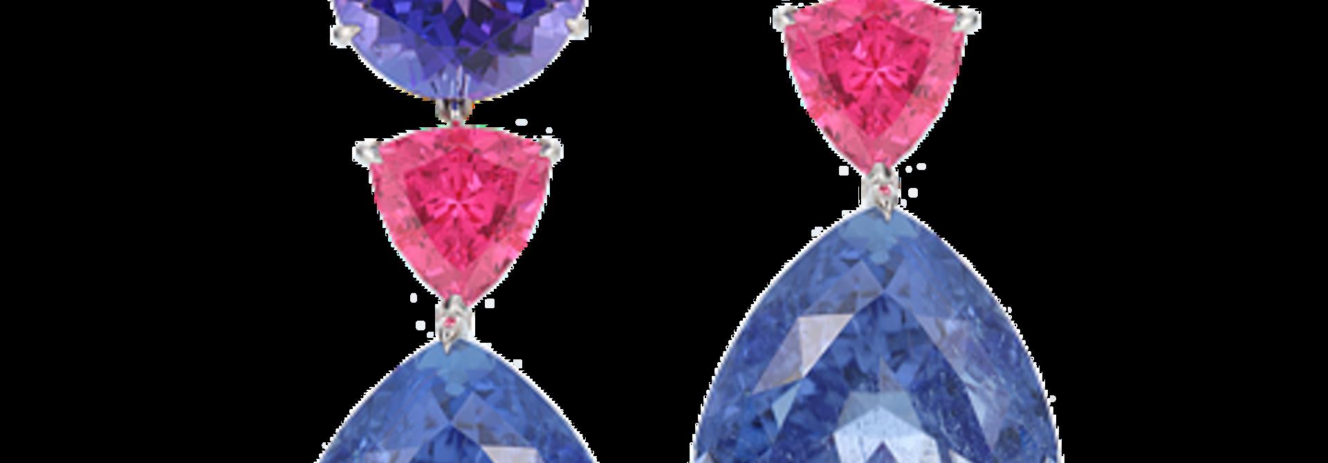 Violet Tourmaline, Neon Pink Spinel & Tanzanite Earrings