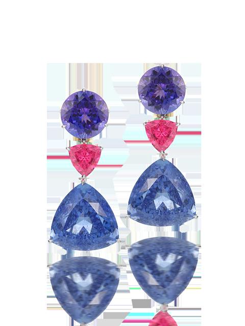 Violet Tourmaline, Neon Pink Spinel & Tanzanite Earrings-1