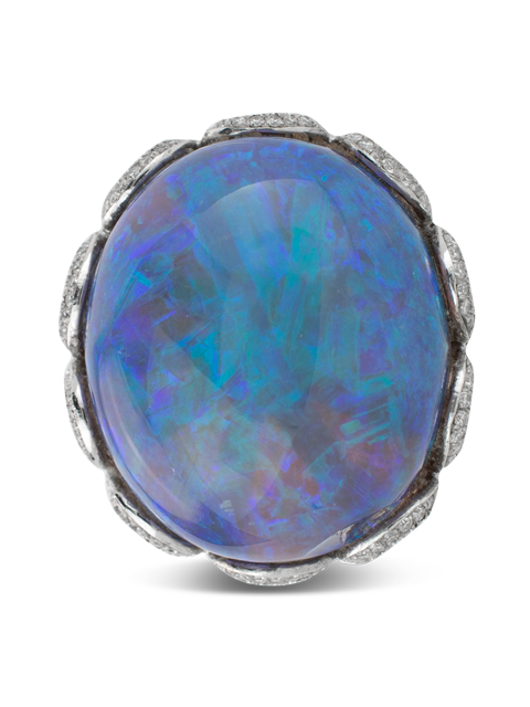 Black Opal & Diamond Ring-2