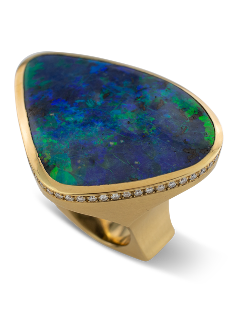 Boulder Opal & Diamond Ring-2