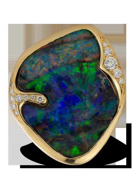 Boulder Opal & Diamond Ring-1