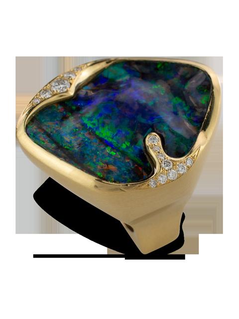 Boulder Opal & Diamond Ring-2