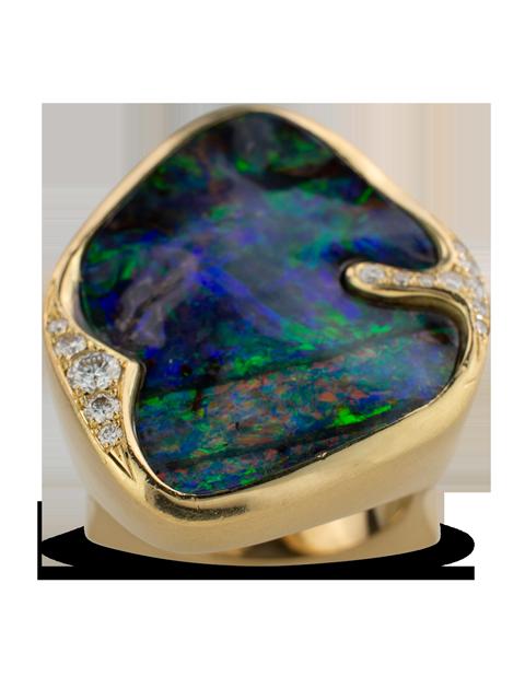Boulder Opal & Diamond Ring-3