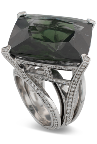 Dark Green Sapphire & Diamond Ring