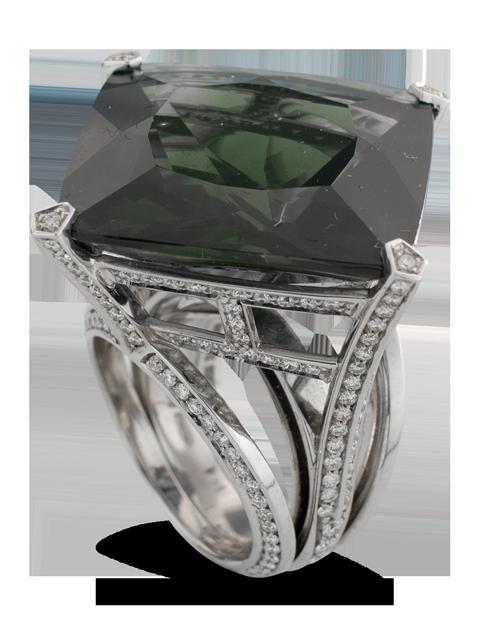 Dark Green Sapphire & Diamond Ring-1