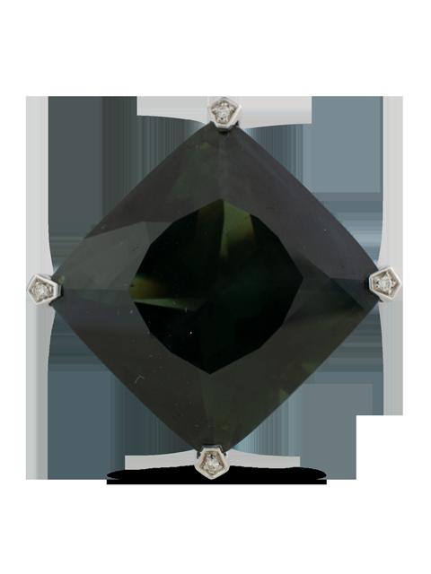 Dark Green Sapphire & Diamond Ring-2