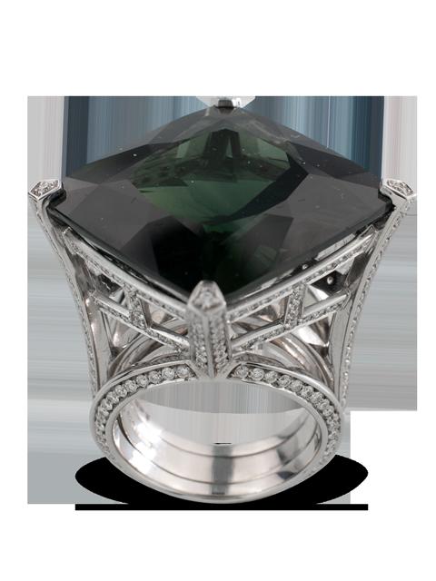 Dark Green Sapphire & Diamond Ring-3