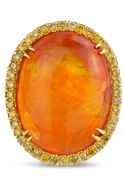 Mexican Fire Opal & Yellow Diamond Ring