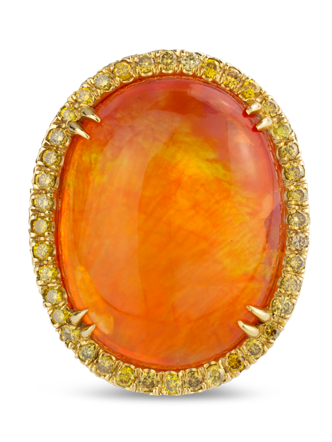 Mexican Fire Opal & Yellow Diamond Ring-1