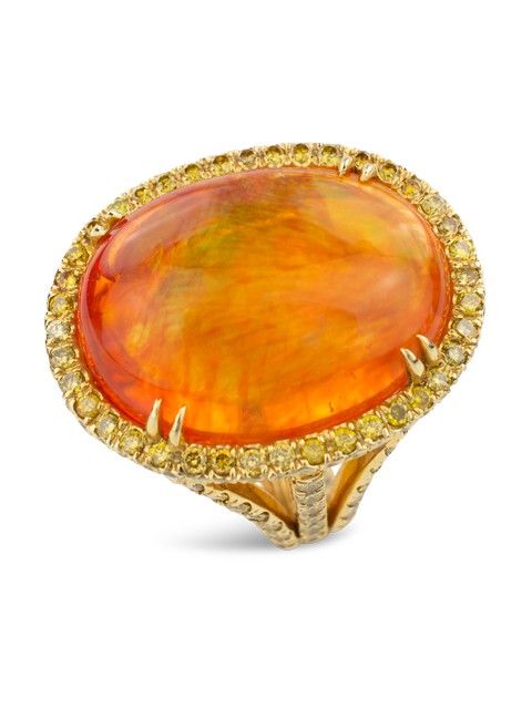 Mexican Fire Opal & Yellow Diamond Ring-2