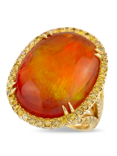 Mexican Fire Opal & Yellow Diamond Ring-3
